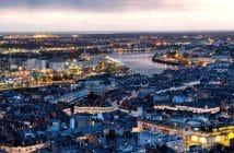 Nantes la nuit vue Loire